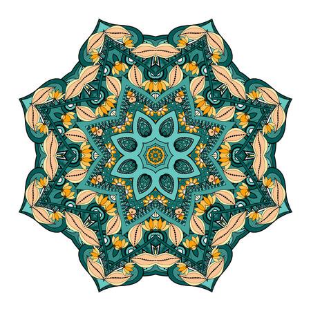 mendi: Vector Beautiful Deco Colored Mandala, Patterned Design Element, Ethnic Amulet