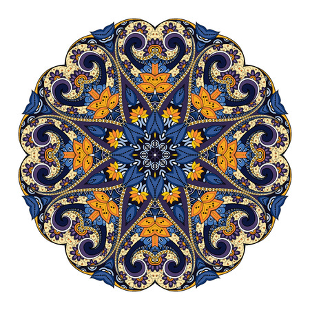 mehendi: Vector Beautiful Deco Colored Mandala, Patterned Design Element, Ethnic Amulet