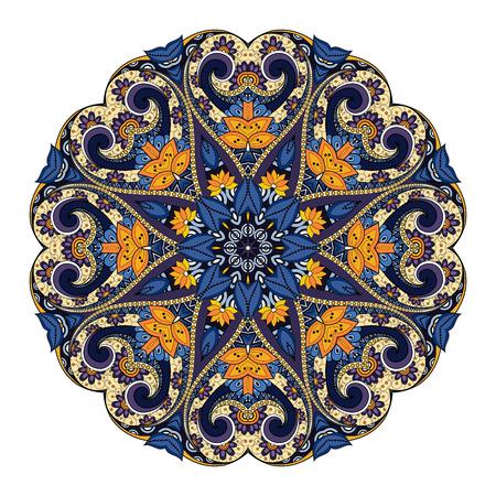 Vector Beautiful Deco Colored Mandala, Patterned Design Element, Ethnic Amulet