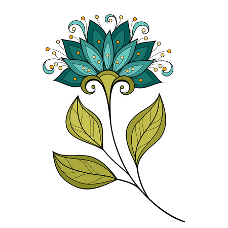 plant design: Vector Beautiful Colored Contour Flower, Floral Design Element