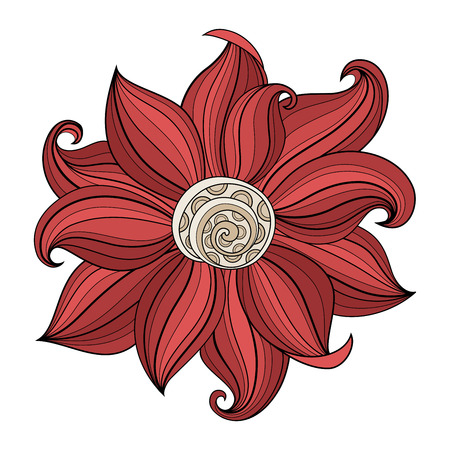 Vector Beautiful Colored Contour Flower, Floral Design Element
