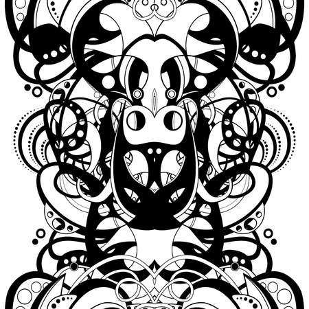 holey: Vector Seamless Monochrome Abstract Pattern. Hand Drawn Texture with Braided Ornament