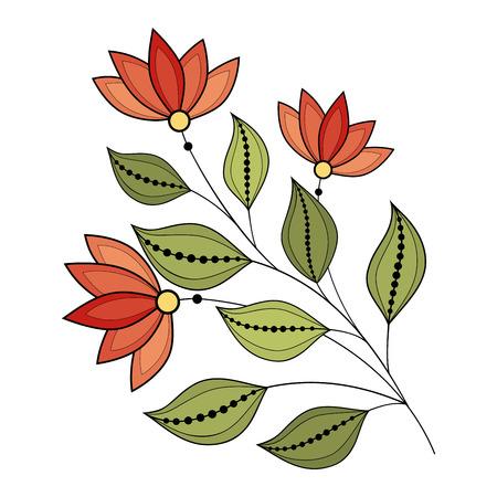 Vector Beautiful Colored Contour Flower, Floral Design Element Vector Illustration
