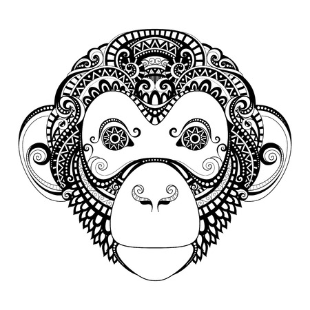 Vector Ornate Monkey Head. Patterned Tribal Monochrome Design. Symbol of the Year 2016 by Chinese Horoscope Vettoriali