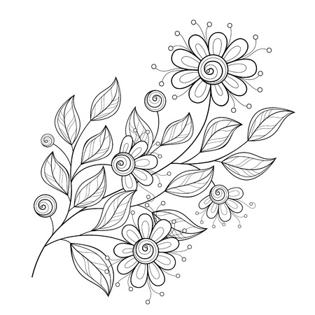 Monochrome Contour Flower Design Element