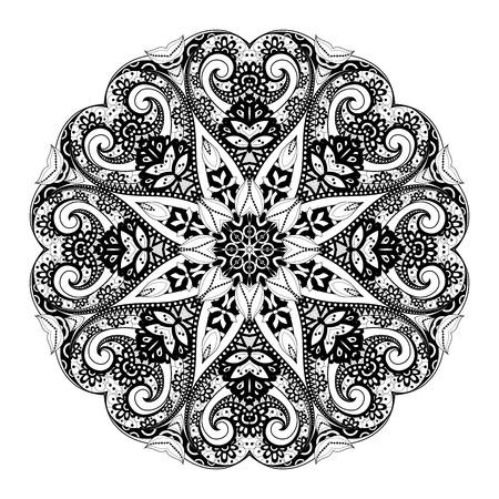 serviette: Black Mandala Design Element Illustration