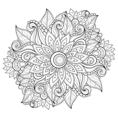 Monochrome Floral Background Illusztráció
