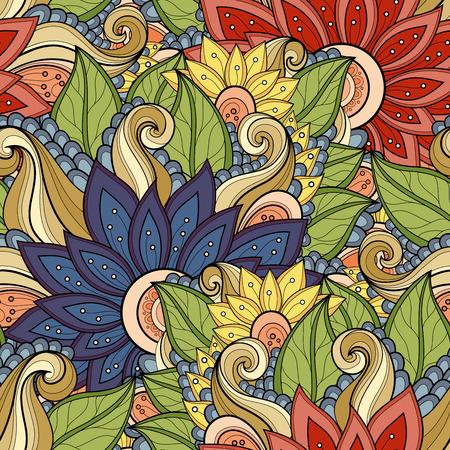 batik: Seamless Floral Pattern Illustration