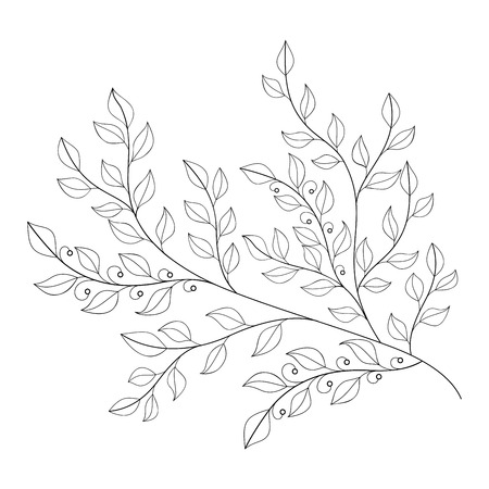 contour: Monochrome Contour Leaf Illustration