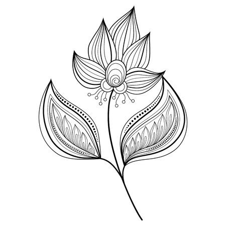 bouquet of flowers: Monochrome Contour Flower