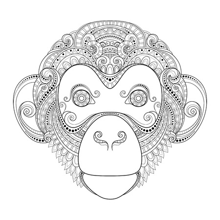 head of animal: Monkey Head Patterned Tribal Monochrome Design Illustration