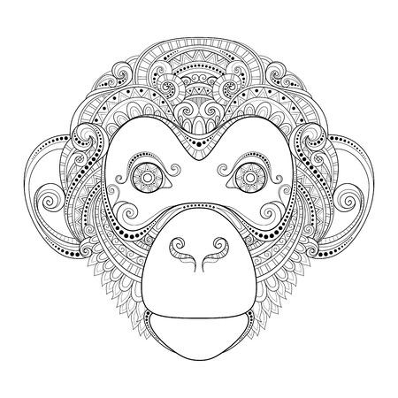 Monkey Head Patterned Tribal Monochrome Design Illustration
