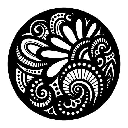 Black Mandala Design Element Vector Illustration