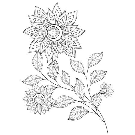 tatouage fleur: Monochrome Contour Fleur