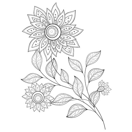 coloring book page: Monochrome Contour Flower
