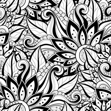 batik: Motif vectorielle Seamless Floral Monochrome. Hand Drawn Floral Texture, Fleurs d�coratives, Coloring Book Illustration