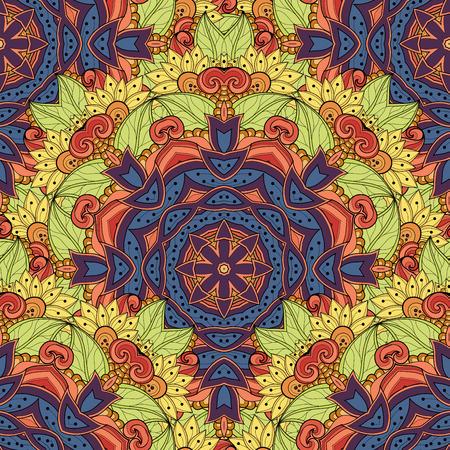 mandala: Vector Seamless Colored Ornate Pattern. Hand Drawn Mandala Texture, Vintage Indian Style