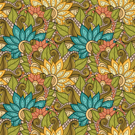 flowers bouquet: Vector Seamless Floral Pattern. Hand Drawn Floral Texture, Decorative Flowers, Coloring Book