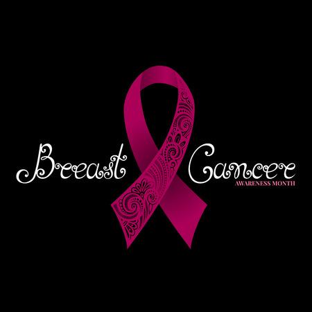 cancer de mama: Vector adornado rosado de la cinta del cáncer de mama en el fondo Negro con letras decorativas (Mano Escrito inscripción)