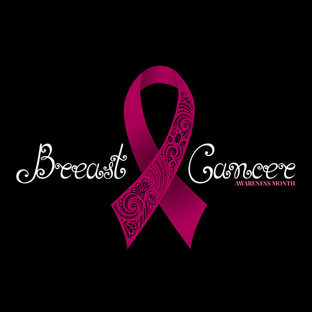 cancer symbol: Vector Ornate Pink Ribbon of Breast Cancer on Black Background with Decorative Lettering (Hand Written Inscription)
