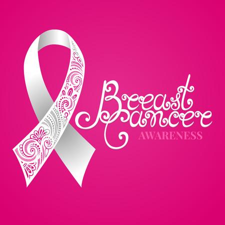 brasiere: Vector adornado White Ribbon del c�ncer de mama en el fondo rosado con las letras decorativas (escrita a mano de la inscripci�n)