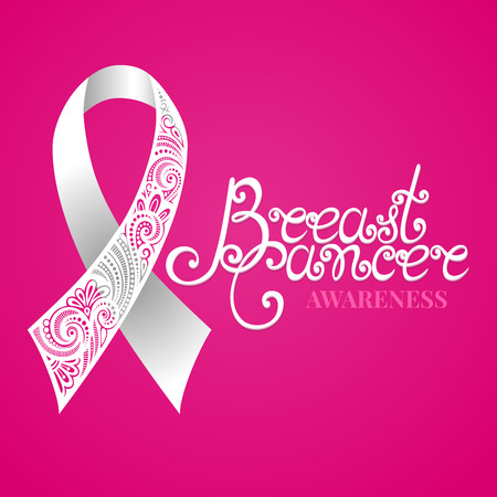 Vector Ornate White Ribbon of Breast Cancer on Pink Background with Decorative Lettering (Hand Written Inscription)