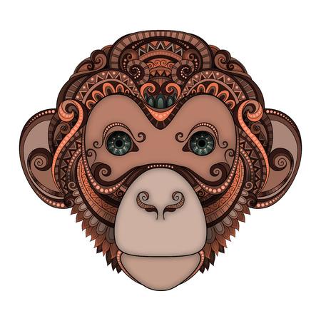 tribales: Vector adornado de Brown del mono cabeza con los ojos verdes. Patterned Tribal Dise�o con color. S�mbolo del A�o 2016 por Hor�scopo Chino