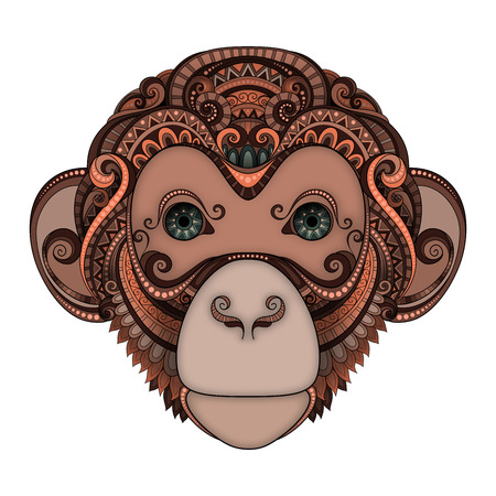 tattoo design: Vector Ornate Brown Monkey Head with Green Eyes. Patterned Tribal Colored Design. Symbol of the Year 2016 by Chinese Horoscope