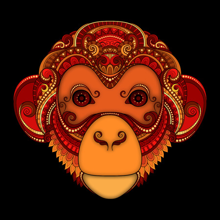 Vector Ornate Red Monkey Head. Patterned Tribal Colored Design. Symbol of the Year 2016 by Chinese Horoscope Vettoriali