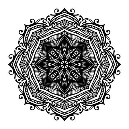 mendi: Beautiful Deco Black Mandala, Patterned Design Element, Ethnic Amulet