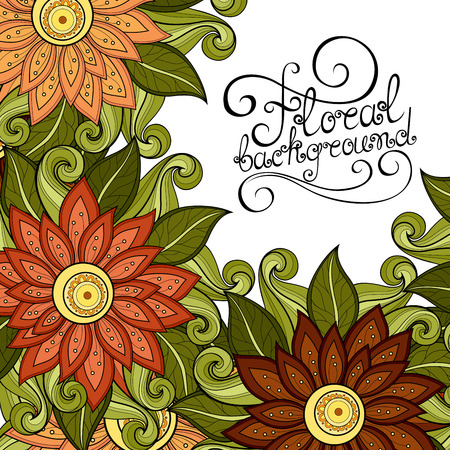 greeting card background: Colored Floral Background. Hand Drawn Ornament with Flowers. Template for Greeting Card