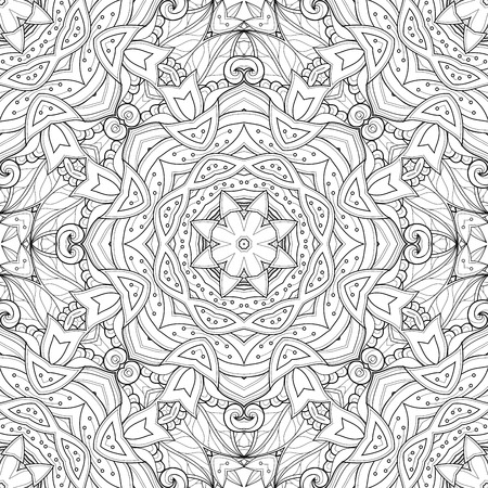 Seamless Abstract Black and White Tribal Pattern. Hand Drawn Ethnic Texture, Flight of Imagination Imagens - 44120241