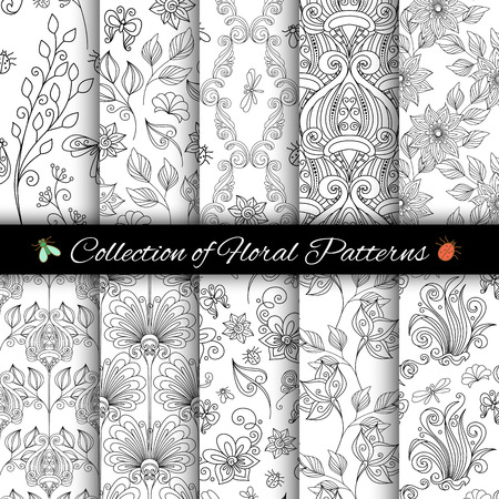 Vector Set of Monochrome Seamless Floral Patterns. Hand Drawn Floral Textures, Decorative Flowers and Insects