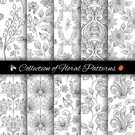 Vector Monochrome Seamless Floral Patterns. Hand Getrokken Bloemen texturen, decoratieve bloemen en insecten