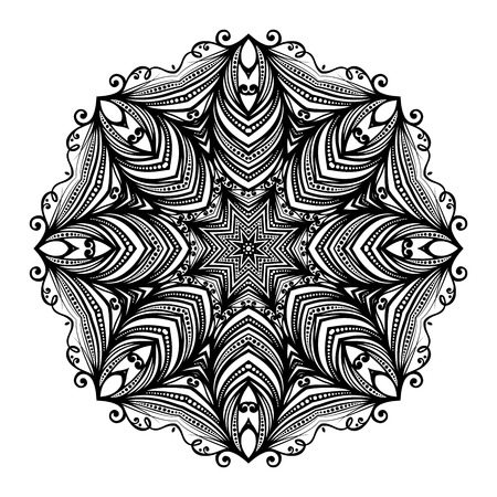 mendi: Vector Beautiful Deco Black Mandala, Patterned Design Element, Ethnic Amulet