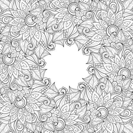 Background Vettore Monocromatico floreale. Disegnato a mano Ornamento con corona floreale. Modello per Greeting Card Archivio Fotografico - 44435122