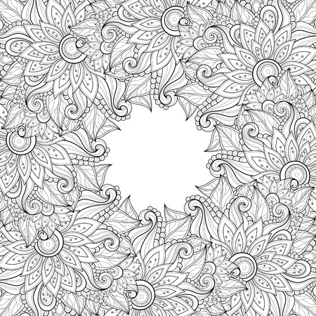 doodle: Vector Monochrome Floral Background. Hand Drawn Ornament with Floral Wreath. Template for Greeting Card Illustration