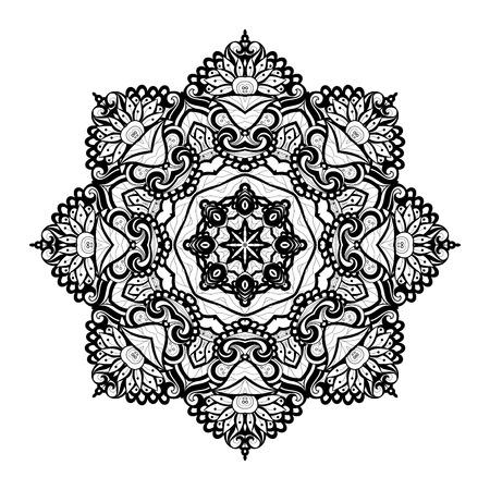 serviette: Vector Beautiful Deco Black Mandala, Patterned Design Element, Ethnic Amulet
