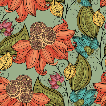 bouquet de fleurs: Motif vectorielle Seamless Floral. Hand Drawn Floral Texture, Fleurs décoratives, Coloring Book