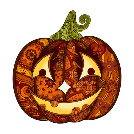 jack o latern: Vector Decorative Colored Pumkin with Smile Isolated on White Background. Ornate Halloween  Decoration. Object for Banners, Posters or Flyers Using Illustration