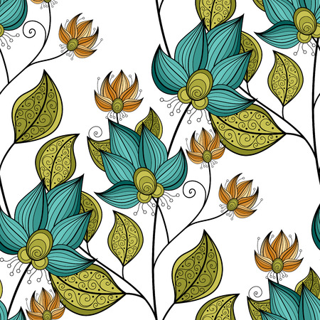 batik: Vector Seamless Floral Pattern. Hand Drawn Floral Texture, Decorative Flowers, Coloring Book