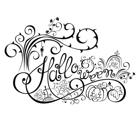 jack o latern: Vector Halloween Hand Drawn Lettering. Ornate Inscription with Halloween Decorations. Holidae Greeting Card Illustration