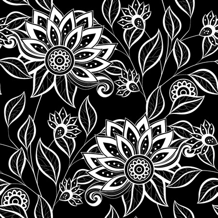 textiles: Vector Seamless Monochrome Floral Pattern. Hand Drawn Floral Texture, Decorative Flowers, Coloring Book Illustration