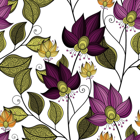 Vector Seamless Floral Pattern. Hand Drawn Floral Texture, Decorative Flowers, Coloring Book