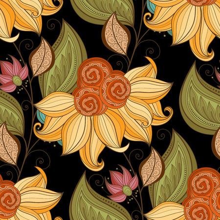 Motif vectorielle Seamless Floral. Hand Drawn Floral Texture, Fleurs décoratives, Coloring Book