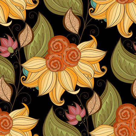 boho: Vector Seamless Floral Pattern. Hand Drawn Floral Texture, Decorative Flowers, Coloring Book