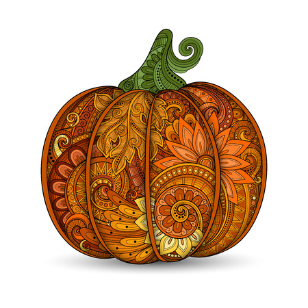dynia: Vector Colored Decorative Punkim with Beautiful Pattern. Thanksgiving Symbol. Halloween Decorations