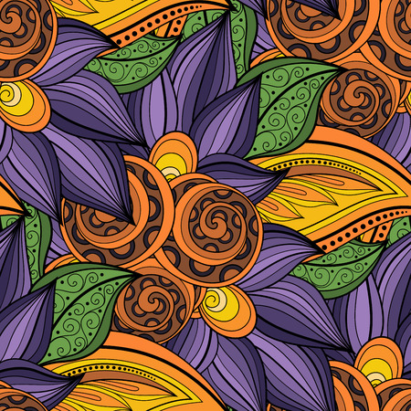 batik: Motif vectorielle Seamless Floral. Hand Drawn Floral Texture, Fleurs décoratives, Coloring Book
