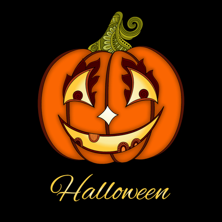 jack o latern: Vector Decorative Colored Pumkin with Smile Isolated on Black Background. Ornate Halloween  Decoration. Object for Banners, Posters or Flyers Using