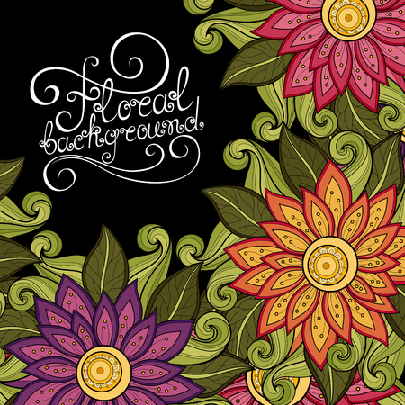 greeting card invitation: Vector Colored Floral Background. Hand Drawn Ornament with Flowers. Template for Greeting Card Illustration